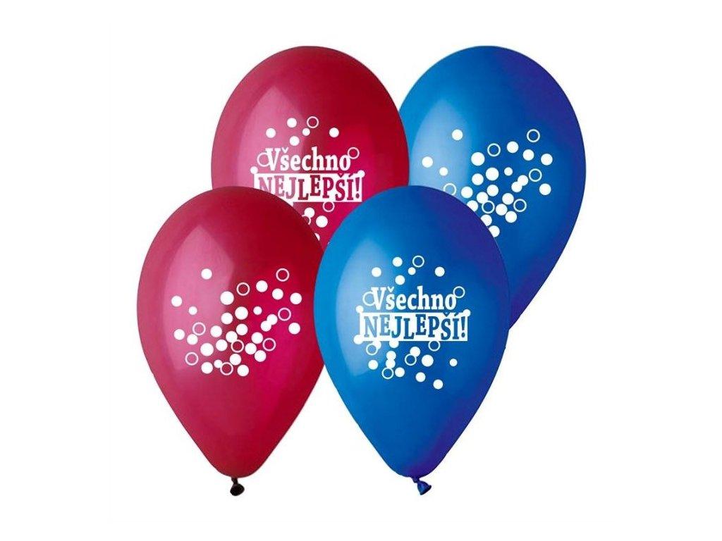 Balónek pastel 30 cm VŠECHNO NEJLEPŠÍ -mix barev - 5 ks