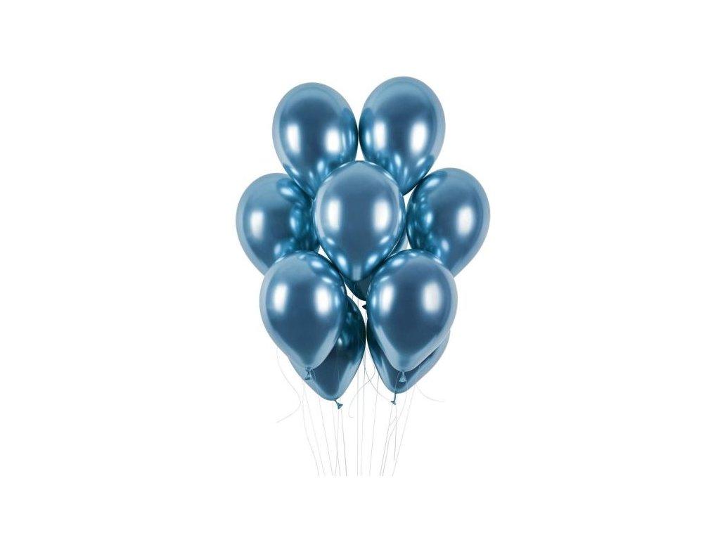 Balónky chromované 50 ks modré lesklé - průměr 33 cm