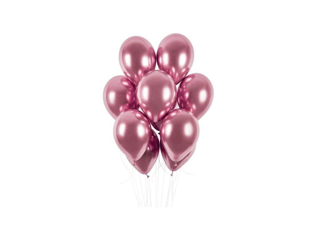 Balónky chromované 50 ks růžové lesklé - průměr 33 cm