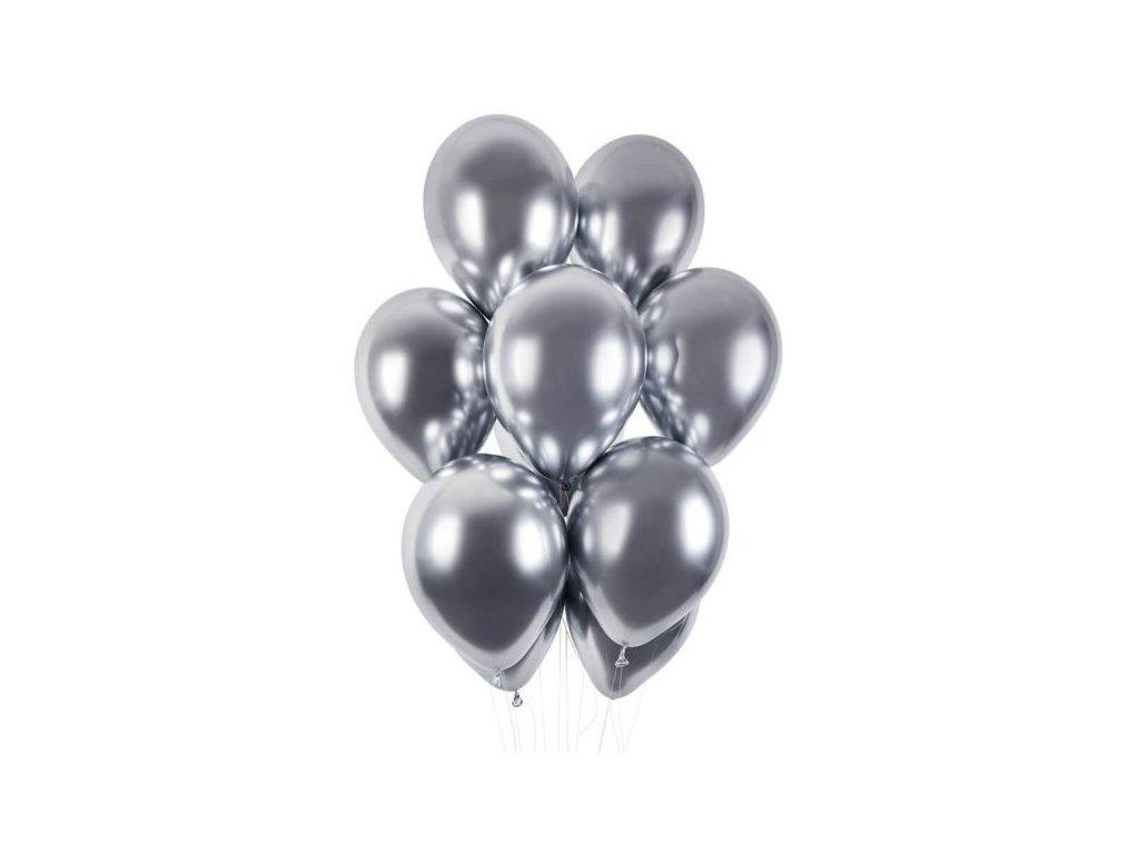 Balónky chromované 50 ks stříbrné lesklé - průměr 33 cm