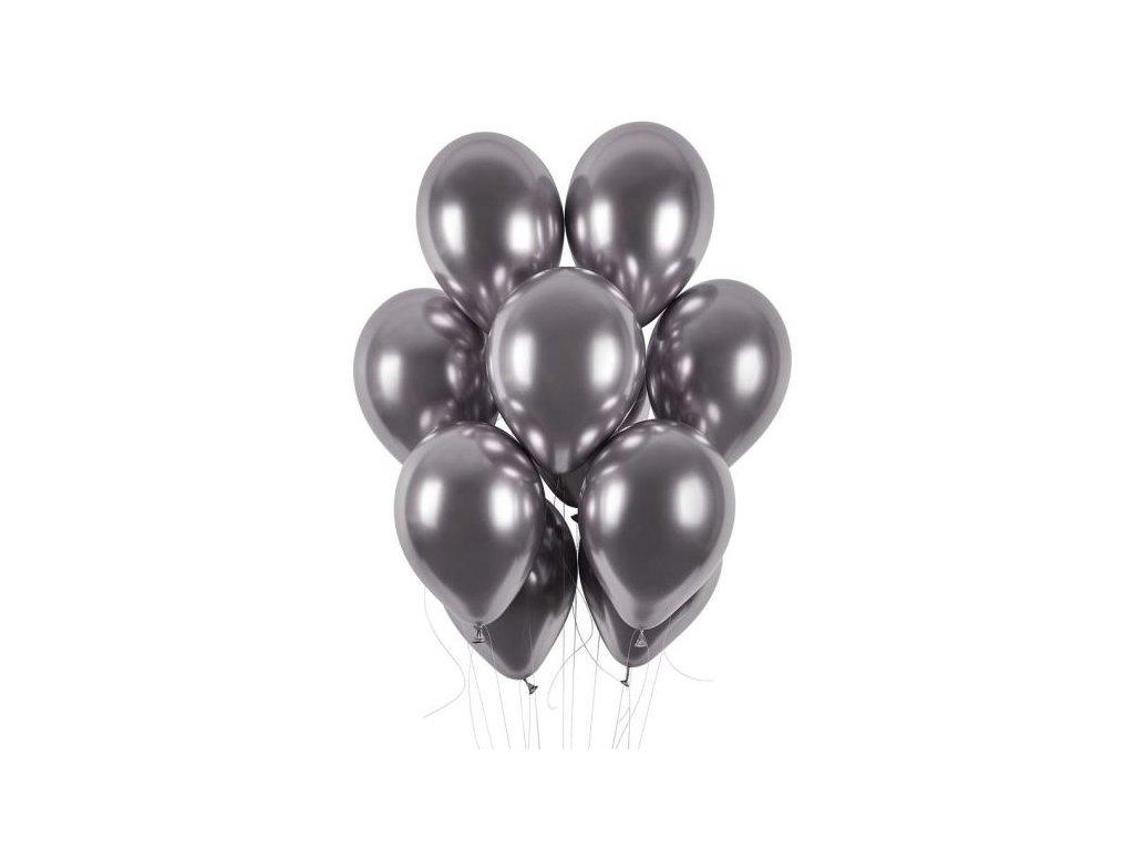 Balónky chromované 50 ks vesmírně šedé lesklé - průměr 33 cm