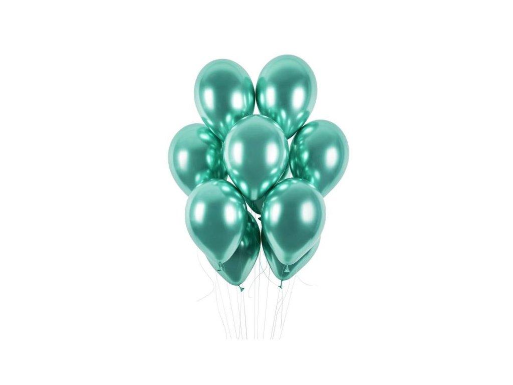 Balónky chromované 50 ks zelené lesklé - průměr 33 cm