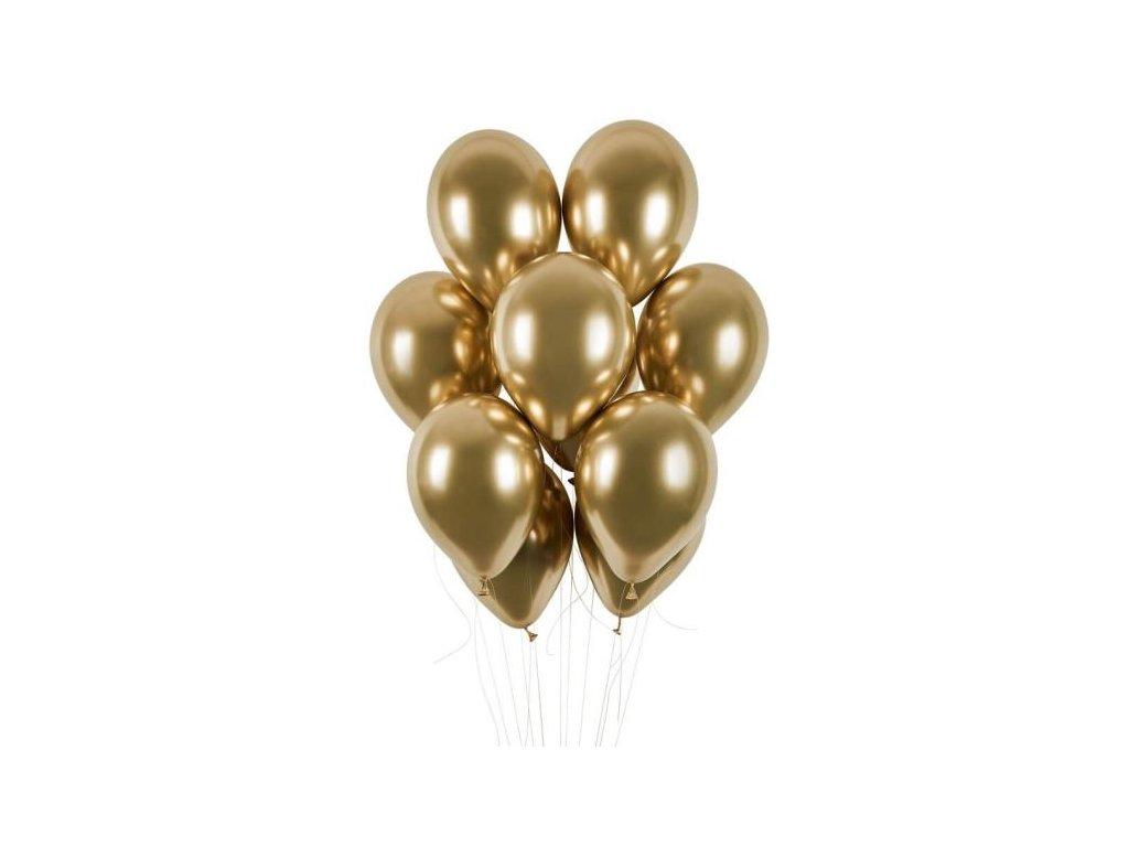 Balónky chromované 50 ks zlaté lesklé - průměr 33 cm