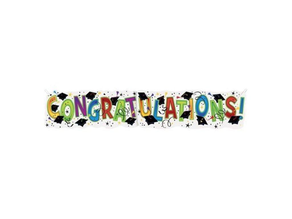 "Girlanda - banner - Promoce ""Congratulations!"" - 132 cm"