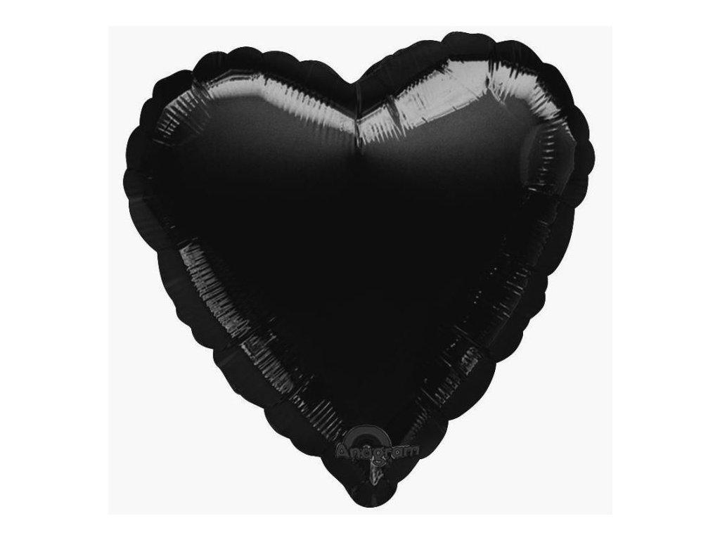 Foliový balón 45 cm Srdce černé