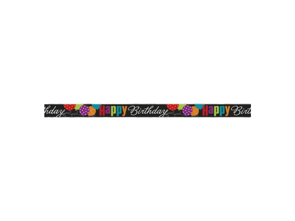 GIRLANDA fóliová narozeniny - HAPPY BIRTHDAY - 360 cm