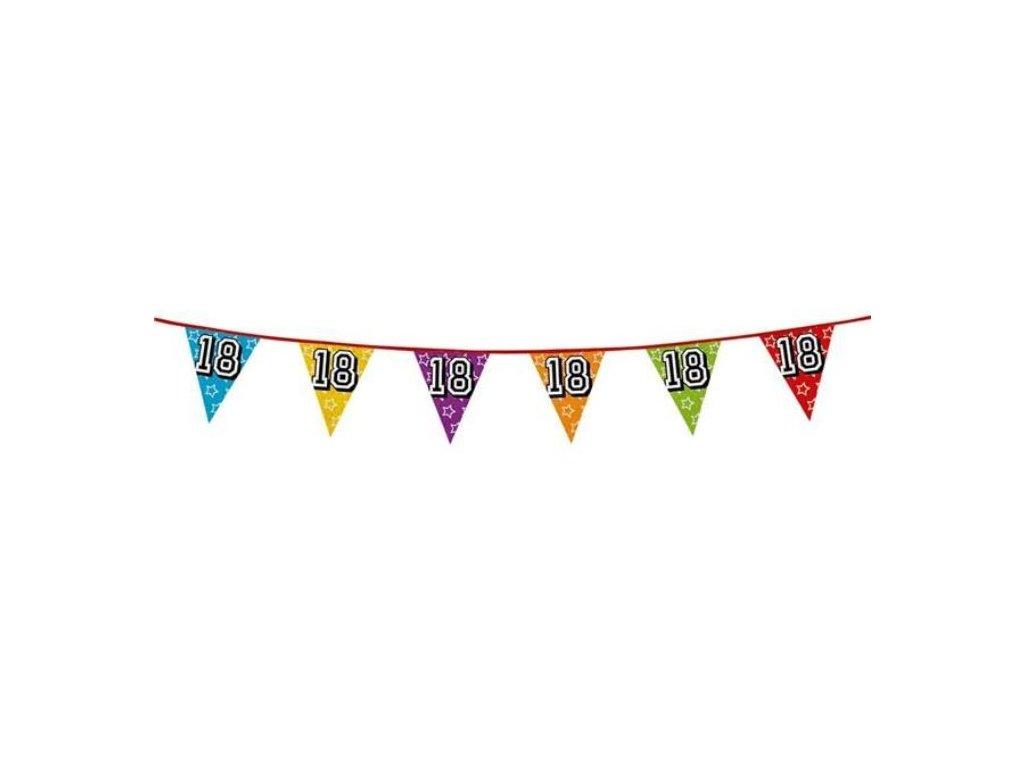 """Girlanda narozeniny - vlajky """"18"""" holografická barevná - 800 cm"""