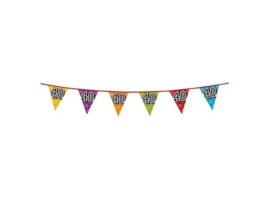 """Girlanda narozeniny - vlajky """"40"""" holografická barevná - 800 cm"""