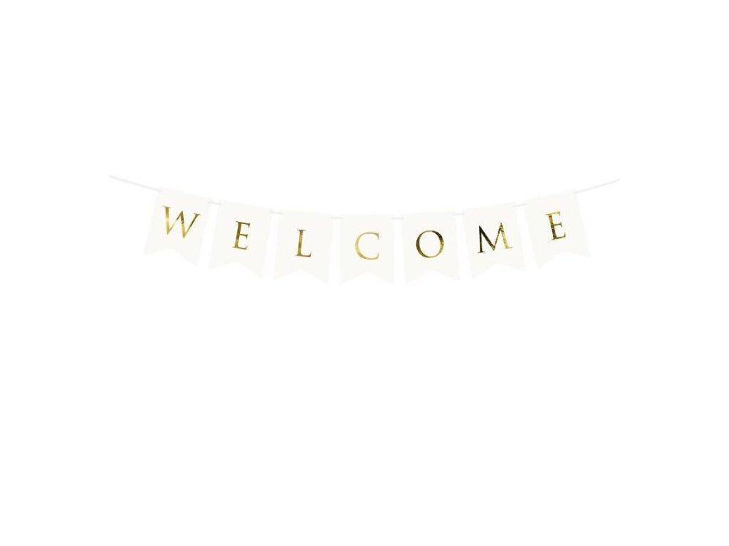 Girlanda Welcome / Vítejte bílá 15 x 95 cm