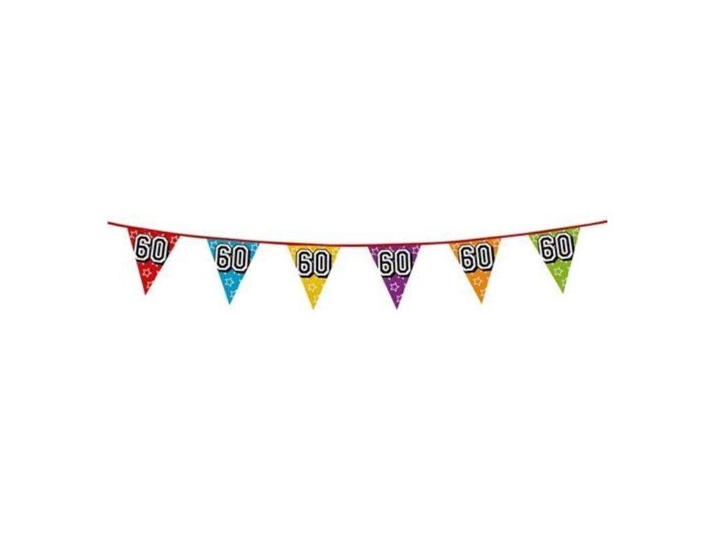 """Girlanda narozeniny - vlajky """"60"""" holografická barevná - 800 cm"""