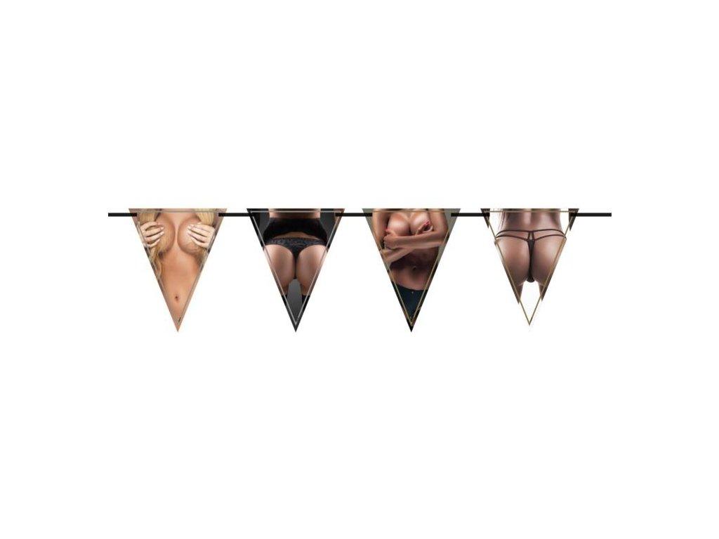 """Girlanda vlajky """"ženské tělo"""" 600 cm - Rozlučka se svobodou"""