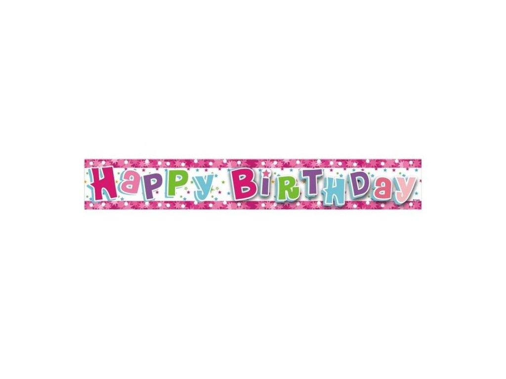 HAPPY BIRTHDAY - narozeniny - BANNER girlanda 180 cm růžová