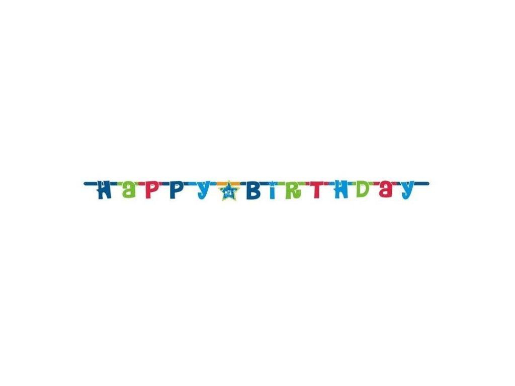 HAPPY BIRTHDAY - narozeniny - girlanda -180 cm MODRÁ