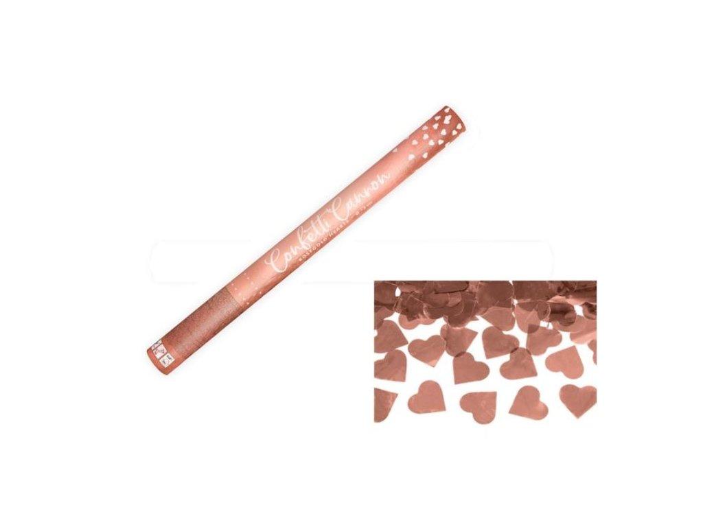 Konfety 60cm - METALICKÉ RŮŽOVO ZLATÉ / ROSE GOLD SRDCE - Svatba