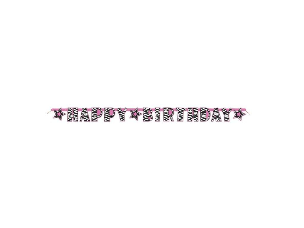 Girlanda Happy Birthday - narozeniny - ZEBRA - 160 cm