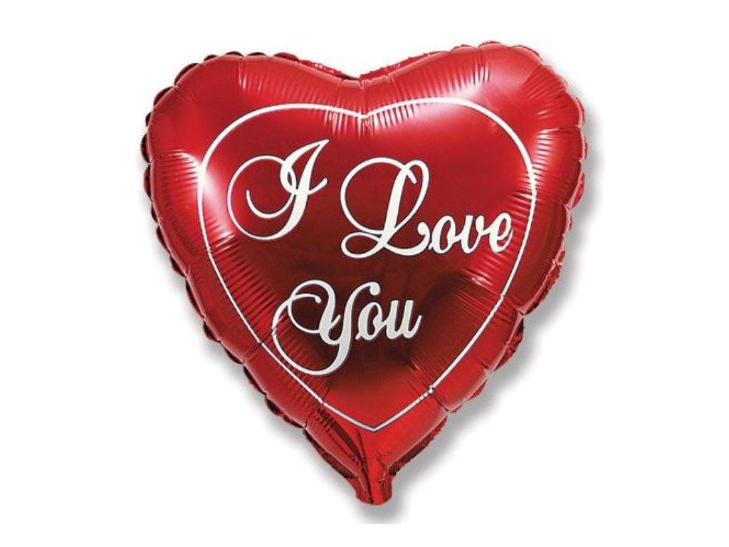 Balón foliový srdce I LOVE YOU - Valentýn - 45cm - Valentýn / Svatba