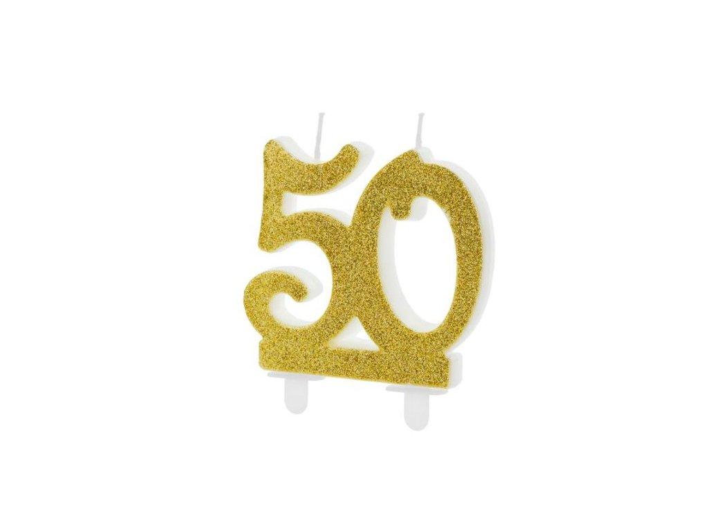 Narozeninová svíčka 50, ZLATÁ - 7,5 cm