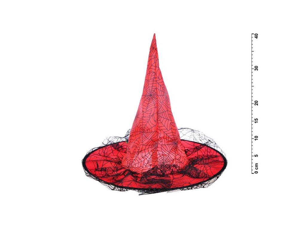 klobouk čarodějnický M04 červený 40 x 36 cm 1041724