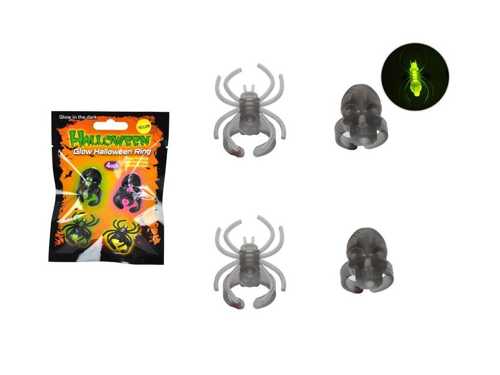 Prstýnek 889614 zářící pavouk sáček 4ks