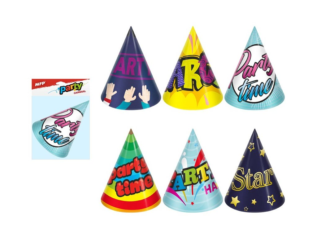 klobouček karnevalový 6ks 16cm papírový mix č.3 1042016