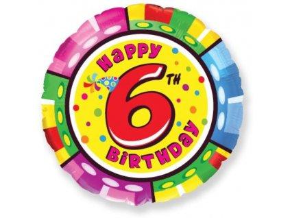 Balón foliový HAPPY BIRTHDAY 6. NAROZENINY 45 cm