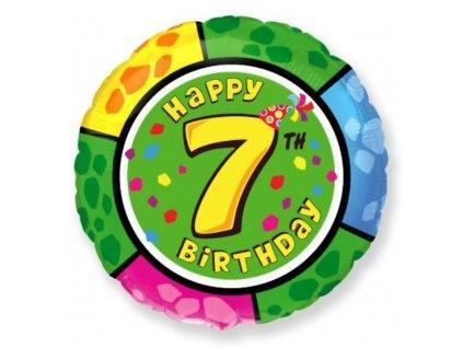Balón foliový HAPPY BIRTHDAY 7. NAROZENINY 45 cm