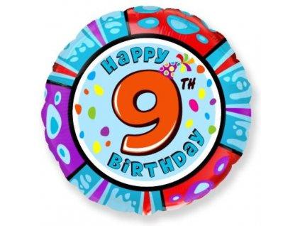 Balón foliový HAPPY BIRTHDAY 9. NAROZENINY 45 cm