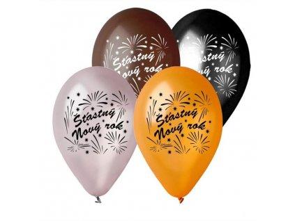 Balónek metalický 28 cm ŠŤASTNÝ NOVÝ ROK 1 ks - Silvestr