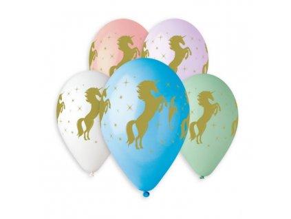 Balónek pastel 30 cm potisk zlatý jednorožec / unicorn - 1 ks