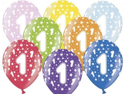 Silné Balónky 30cm metalické mix - narozeniny - Birthday No.1