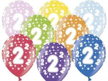 Silné Balónky 30cm metalické mix - narozeniny - Birthday No.2
