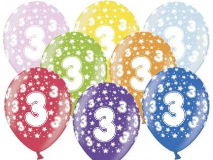 Silné Balónky 30cm metalické mix - narozeniny - Birthday No.3