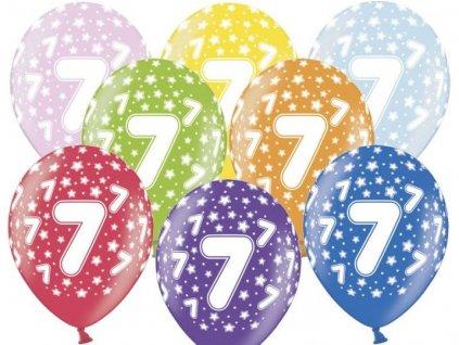 Silné Balónky 30cm metalické mix - narozeniny - Birthday No.7