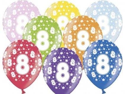 Silné Balónky 30cm metalické mix - narozeniny - Birthday No.8