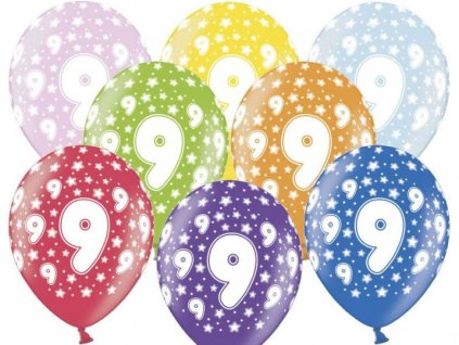 Silné Balónky 30cm metalické mix - narozeniny - Birthday No.9