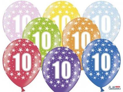 Silné Balónky 30cm metalické mix - narozeniny - Birthday No.10