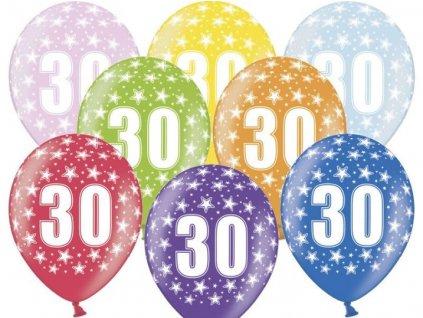 Silné Balónky 30cm metalické mix - narozeniny - Birthday No.30