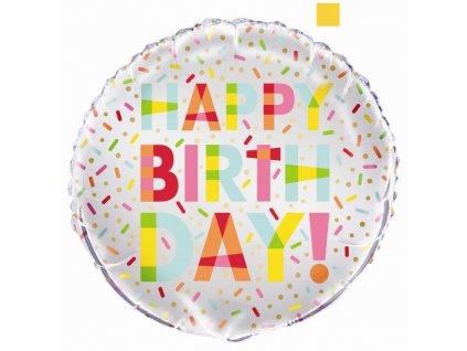 Balón foliový Happy Birthday - narozeniny - DONUT - 45cm