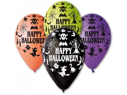 Balónky 30cm pastelové mix - Happy Halloween 1 ks
