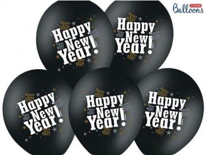 Balónky 30cm metalické černé - HAPPY NEW YEAR - Silvestr