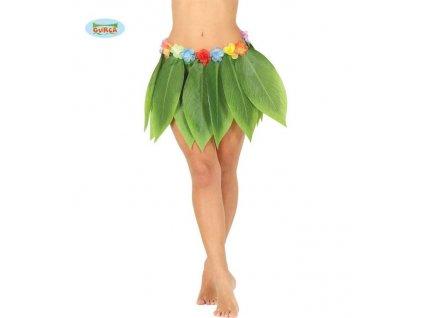 Dospělá sukně havajská - HAWAII - tropické listy - 38 cm