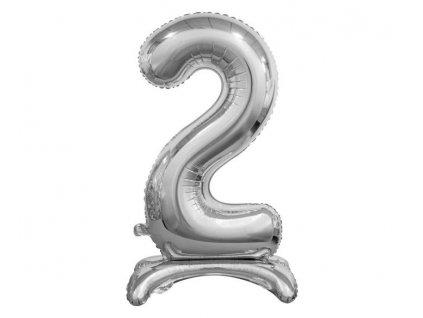 Balón foilový číslice STŘÍBRNÁ na podstavci , 74 cm - 2