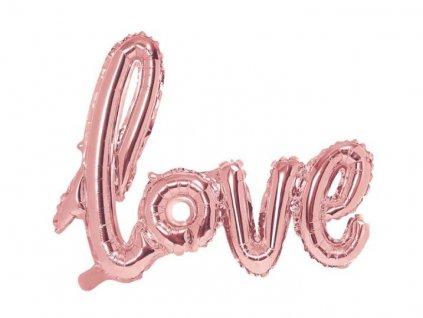 Balón foliový LOVE - Valentýn / Svatba - rose gold - růžovo zlatý, 73x59cm