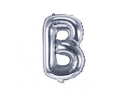 """Balón foliový písmeno """"B"""", 35cm, STŘÍBRNÝ (NELZE PLNIT HELIEM)"""