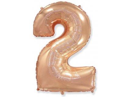 Balón foliový číslice RŮŽOVO ZLATÁ - ROSE GOLD 110 cm - 2
