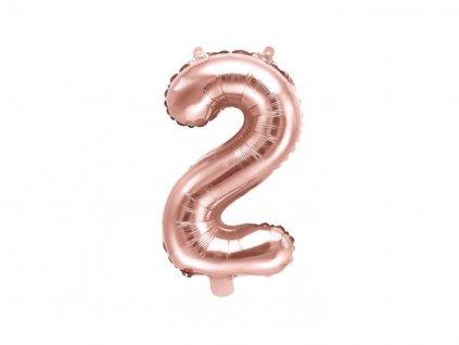 Balón foliový číslice RŮŽOVO ZLATÁ - ROSE GOLD 2 - 35 cm ( NELZE PLNIT HELIEM )