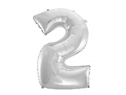 Balón foliový číslice STŘÍBRNÁ - SILVER 110 cm - 2