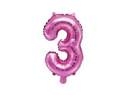 Balón foliový číslice SVĚTLE růžová 35 cm -3 ( NELZE PLNIT HELIEM )