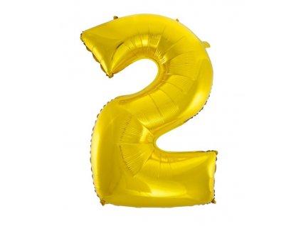 Balón foliový číslice ZLATÁ - GOLD 110 cm - 2