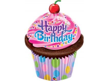 Balón foliový - Happy Birthday - narozeniny - MUFFIN - CUPCAKE 89 cm